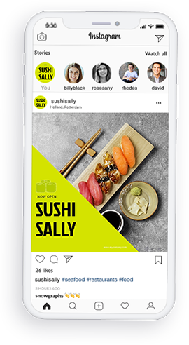 restaurant poster template on phone